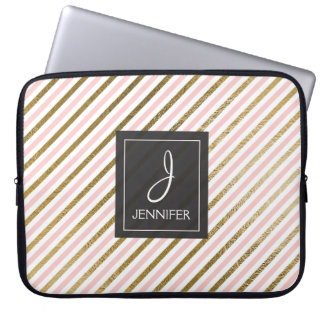 Pink and Gold Foil Stripe Elegant Monogram Laptop Sleeve