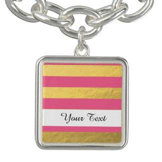 Pink and Gold Foil Stripes Printed Bracelet