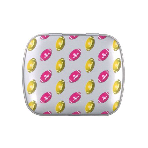 Pink and Gold Football Pattern Jelly Belly Tins