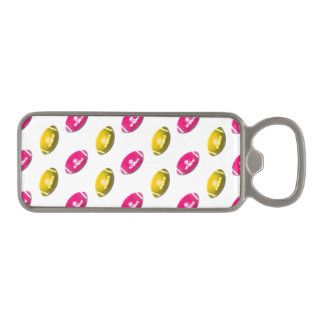 Pink and Gold Football Pattern Magnetic Bottle Opener