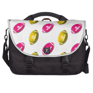 Pink and Gold Football Pattern Laptop Computer Bag