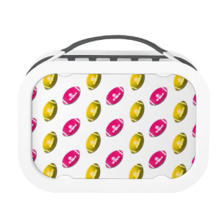 Pink and Gold Football Pattern Lunch Box