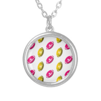 Pink and Gold Football Pattern Necklace