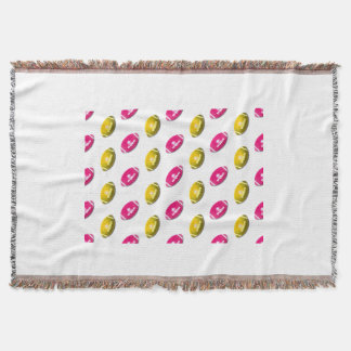 Pink and Gold Football Pattern Throw