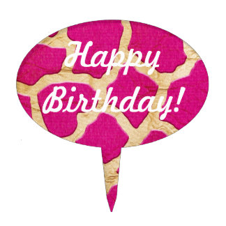 Pink and Gold Giraffe Oval Cake Pick