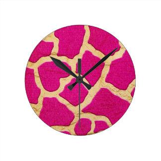Pink and Gold Giraffe Round Wall Clocks