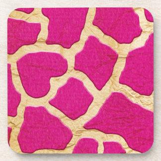 Pink and Gold Giraffe Beverage Coaster