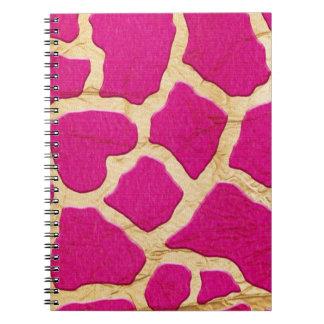 Pink and Gold Giraffe Spiral Notebook
