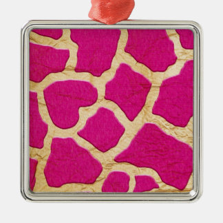 Pink and Gold Giraffe Silver-Colored Square Ornament