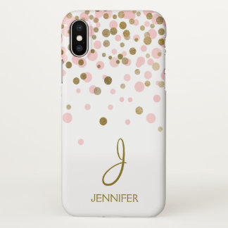 Pink and Gold Girly Foil Confetti Monogram iPhone X Case