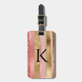 Pink and Gold Glam Monogrammed Luggage Tag