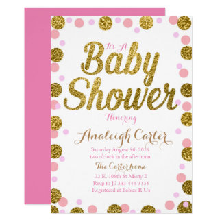 Pink and gold glitter baby shower girl invitation