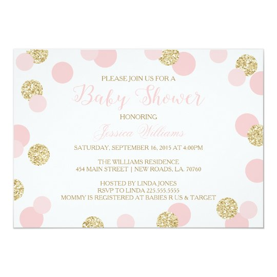 pink and gold glitter baby shower invitations zazzle