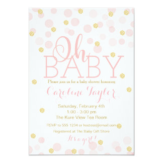 Pink and Gold Glitter Confetti Invitation