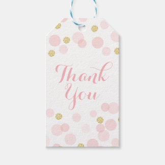 Pink and Gold Glitter Confetti Thank You Pack Of Gift Tags
