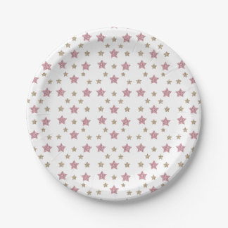 Pink and Gold Glitter Dessert Paper Plate 7 Inch Paper Plate