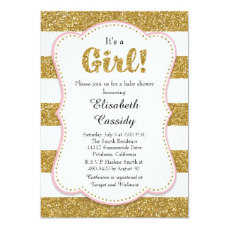 Pink and Gold Glitter Girl Baby Shower Invitation
