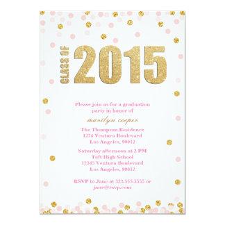 Pink and Gold Glitter Graduation Invitation