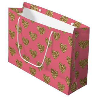 Pink and Gold Glitter Hearts Pattern Large Gift Bag