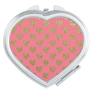 Pink and Gold Glitter Hearts Pattern Mirror For Makeup