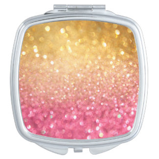 pink and gold glitter look mirrors for makeup