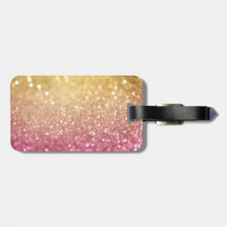 pink and gold glitter look tag for luggage