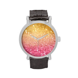 pink and gold glitter look wristwatches