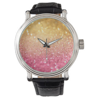 pink and gold glitter look wristwatch