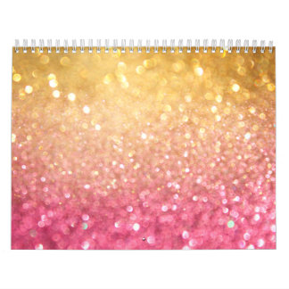 pink and gold glitter look wall calendars