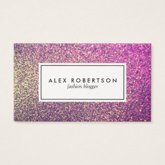 Pink and gold glitter ombre business card