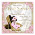 Pink and Gold Glitter Shoe Pearl Baby Shower Card