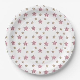 "Pink and Gold Glitter Star 9"" Paper Plate 9 Inch Paper Plate"