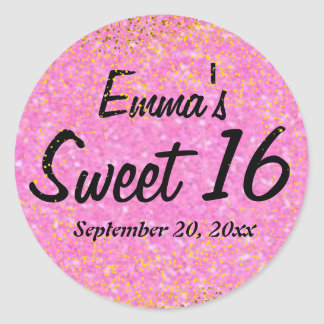Pink and Gold Glitter Sweet 16 Personalized Classic Round Sticker