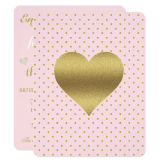 Pink And Gold Heart And Polka Dot Party Card