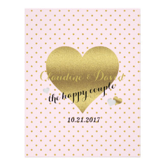 Pink And Gold Heart Polka Dot Wedding Flyer