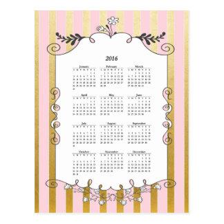 Pink and Gold Illustrated Border 2016 Calendar Postcard