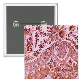 Pink And Gold Lace 2 Inch Square Button