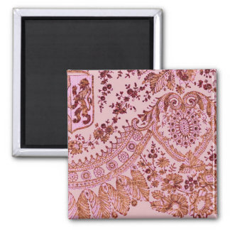 Pink And Gold Lace Square Magnet