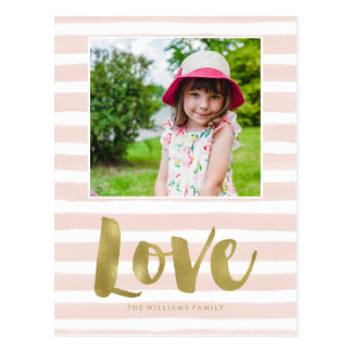 "Pink and Gold ""Love"" Valentines Day Photo Postcard"