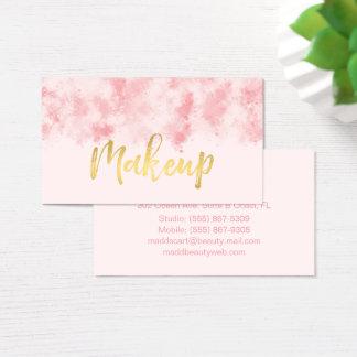 Pink and Gold Makeup Business Card