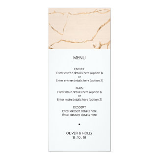 Pink and gold marble effect wedding menu card
