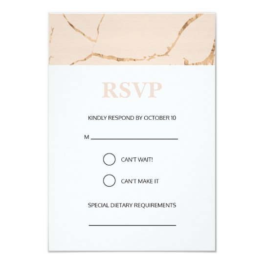 Pink and gold marble effect wedding RSVP card