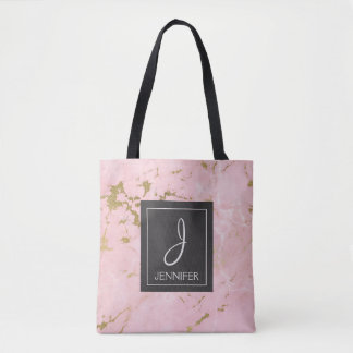 Pink and Gold Marble Monogram Book Bag
