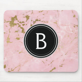 Pink and Gold Marble Monogrammed Modern Mouse Pad