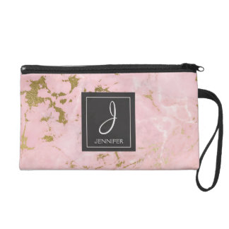 Pink and Gold Marble Stone Monogrammed Wristlet