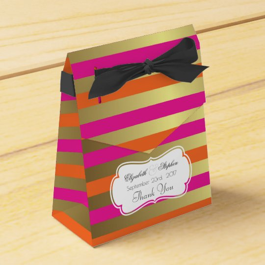 Pink and Gold Metallic Stripes Wedding Thanks Favor Box