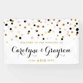 Pink and Gold Modern Confetti Dots Wedding Banner