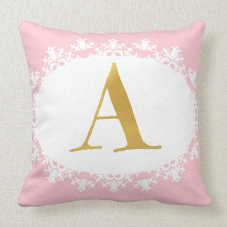Pink and Gold Monogram Pillow