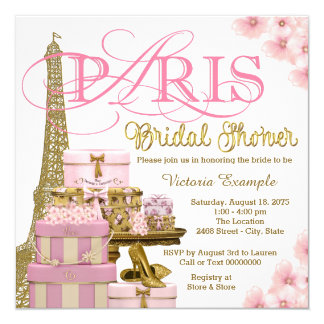 "Pink and Gold Paris Bridal Shower 5.25"" Square Invitation Card"