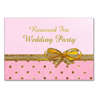 Pink and Gold Party or Wedding Table Cards